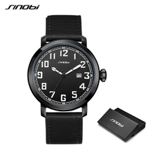 купить New Arrival SINOBI Men Watch Japan Imported Movement Leather Strap Sports Military Watches Fashion Simple Wristwatch Dropship недорого