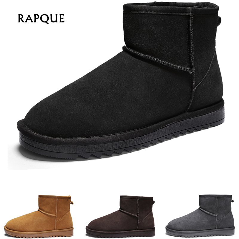 Unisex Mens Winter Ankle Boots Men Genuine Leather Luxury Classic Work Safety Snow Boots Women Boot Shoes Lovers Cow Suede 35-46