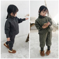 2019 Winter Children Clothing Set 2pcs Baby Girls Tracksuit Solid Thick Warm Cotton Coat+Pants Kids Winter Clothes Girls Jacket