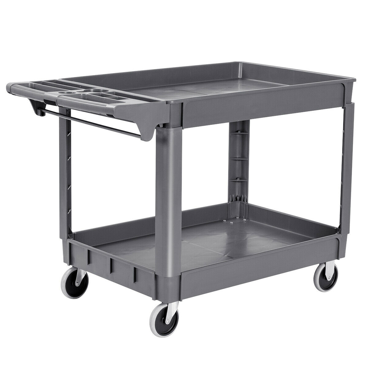 Costway Plastic Utility Service Cart 550 LBS Capacity 2 Shelves Rolling 46'' X 25'' X 33''