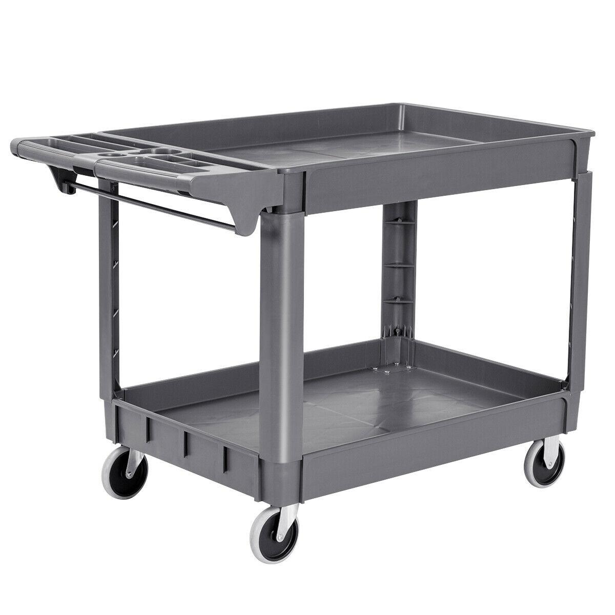 Costway Plastic Utility Service Cart 550 LBS Capacity 2 Shelves Rolling 46'' X 25'' X 33''