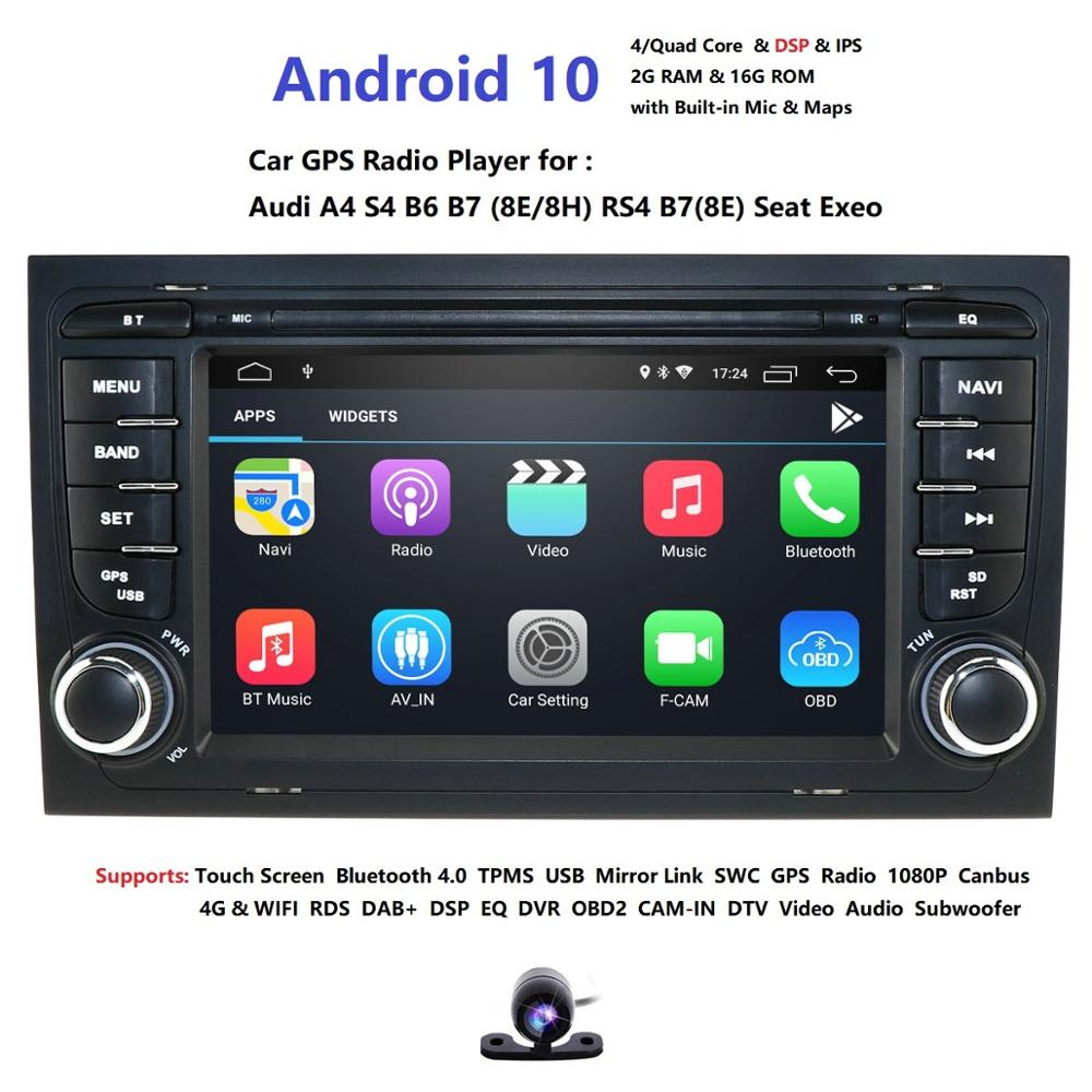 For <font><b>Audi</b></font> <font><b>A4</b></font> S4 RS4 8E 8F B9 B7 <font><b>B6</b></font> 2G 16G 4 core Android 10 2 Din Car radio <font><b>multimedia</b></font> player stereo GPS wifi obd2 DSP DVR image