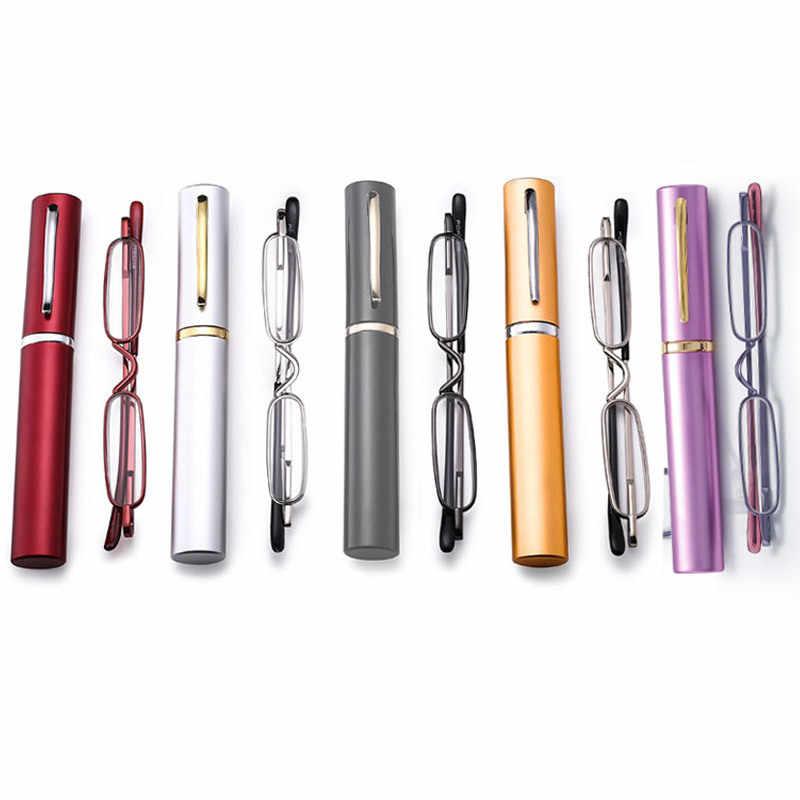 Fodable мини полимерные очки для чтения портативные тонкие легкие мужские женские складные очки для дальнозоркости с трубкой чехол 1,00-4,00