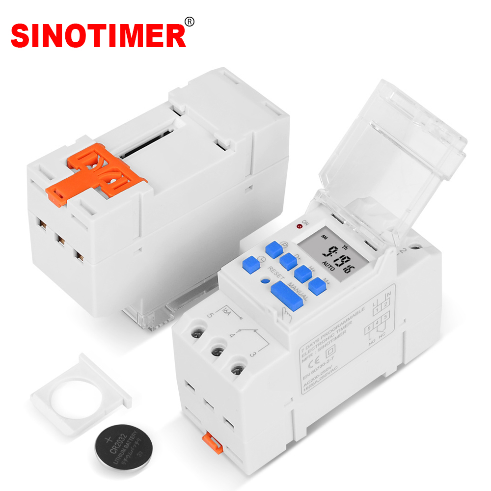 Electronic Weekly 7 Days Programmable Digital Industrial Time Switch Relay Timer Control AC 220V 16A Din Rail Mount|time switch relay|220v din rail|timer switch time relay - title=