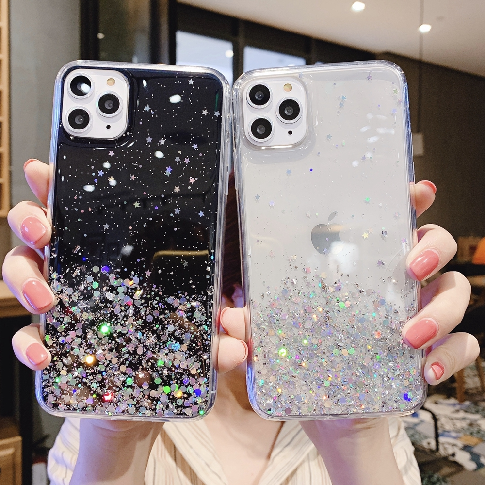 H6066d1e630a9472a9188278a562810742 - Solid quicks Case For iphone 11 8 7 Plus 6 6s Glitter Bling Sequins Epoxy Star Case For iphone 11 Pro MAX X XR XS Soft TPU Cover