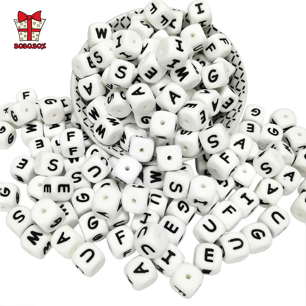 BOBO.BOX 12mm 100pcs Silicone Letters Food Grade Silicone Chewing English Alphabe Beads DIY Baby Teething Toys Pacifier Pendant