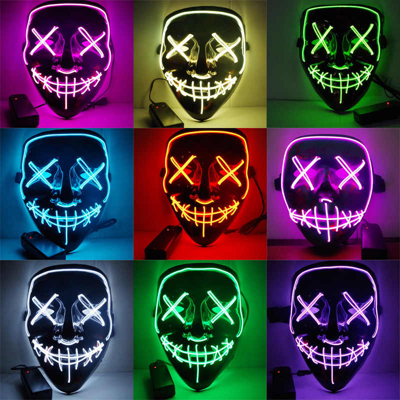 LED Rave Music Luminous Scary Light Up Party Purge Halloween Glow In Dark UK