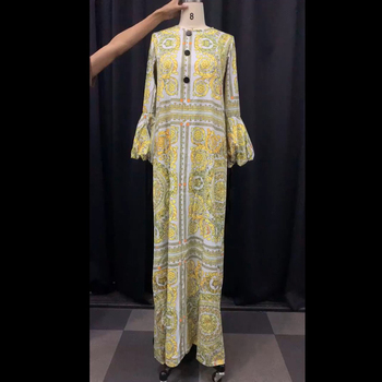 Autumn Long Sleeve Maxi Dress African Ladies Rich Bazin Golden Print Vintage Plus Size 3XL Floor Length Women Party Long Dress 3