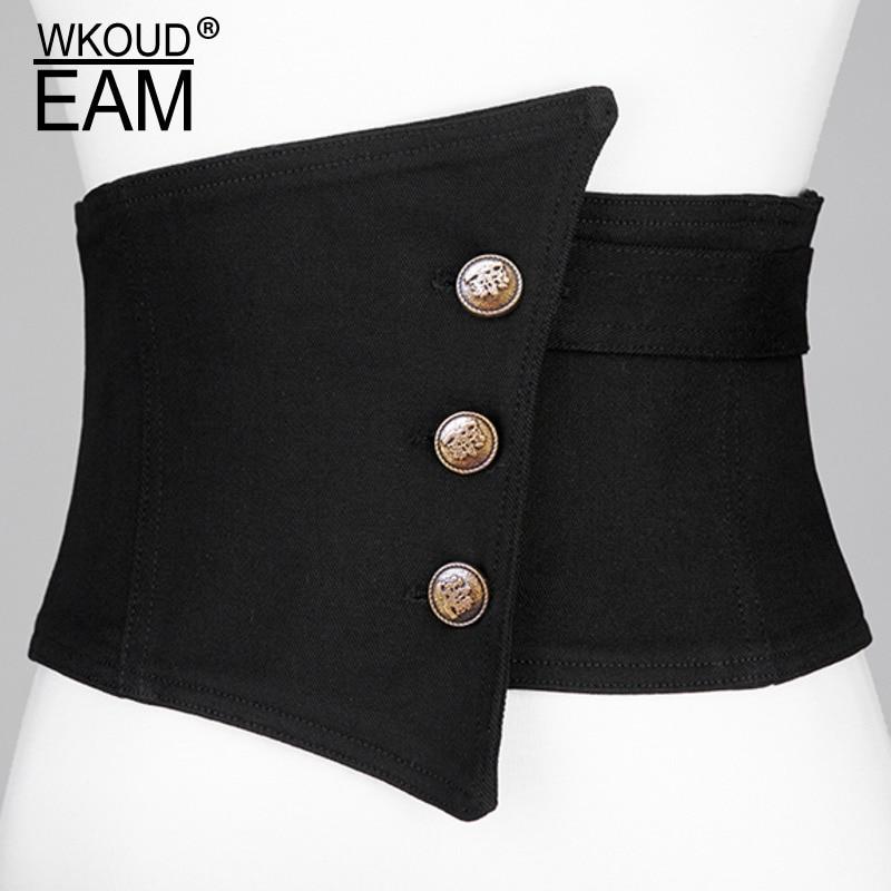 WKOUD EAM 2020 New Spring Solid Color Single Breasted Extra Wide Corset Belt Women Fashion Elastic Sculpture Belt Tide PE037