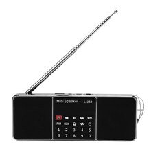Mini Portable Rechargeable Stereo L-288 FM Radio Speaker LCD Screen Support TF Card USB Disk MP3 Music Player Loudspeaker(Black)(China)