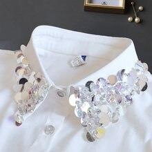 Collier Faux Col à paillettes pour femme, élégant, avec perles blanches, demi-chemise amovible, nouvelle collection 2020