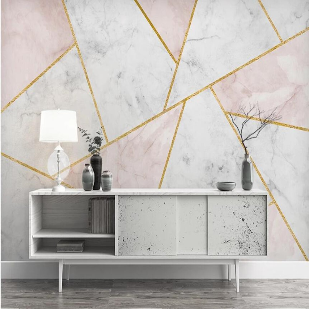 Milofi Custom 3D Marble Geometric Line Graphic Background Wallpaper Mural