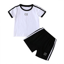 Sports Kids Clothes Boys Sets Summer Children Boy Clothing Suits Cotton Short Sleeve Tops+Shorts Fashion Kids Clothes 2-6 Years цена 2017