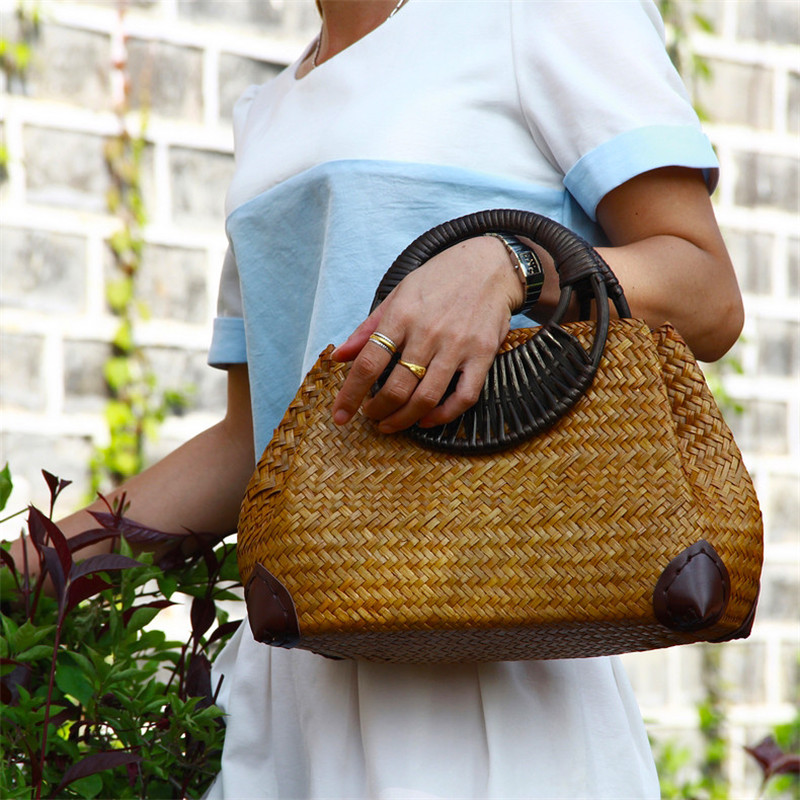 Fashion Women's Hand Bag F Thai Version Of The Straw Bag Retro Vase Vine Bag Travel Beach Bag Bamboo Wood Handle Handbag