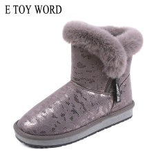 E TOY WORD Snow boots Female 2019 New Winter plus velvet cotton boots thick warm cotton shoes non-slip two cotton ankle boots цены онлайн