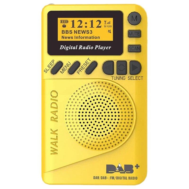 Pocket Radio Portable DAB Digital Radio Rechargeable FM Radio LCD Display Loudspeaker for Walk Run or Jogging