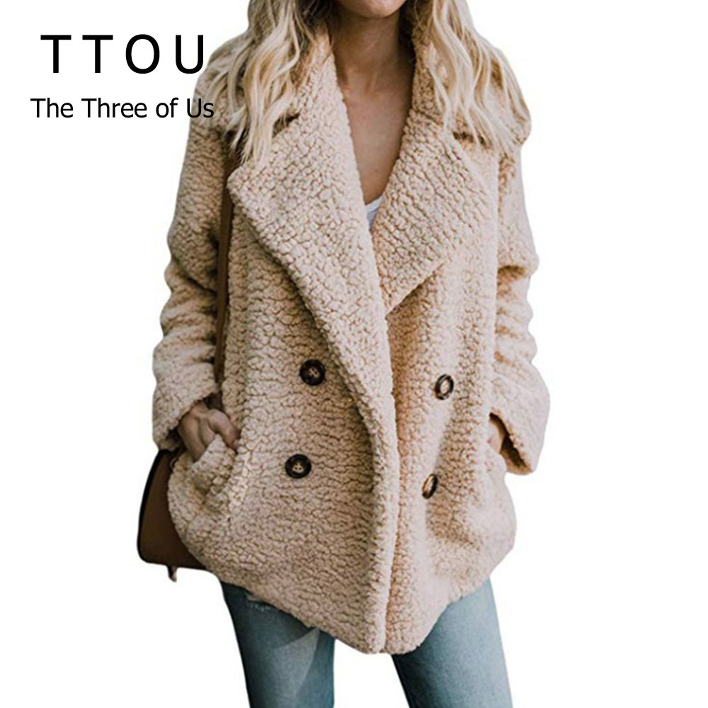 Plus Size Women Faux Fur Coat Autumn Winter Fashion Thick Warm Soft Fleece Jacket Female Overcoat Pocket Zipper Teddy Outwear