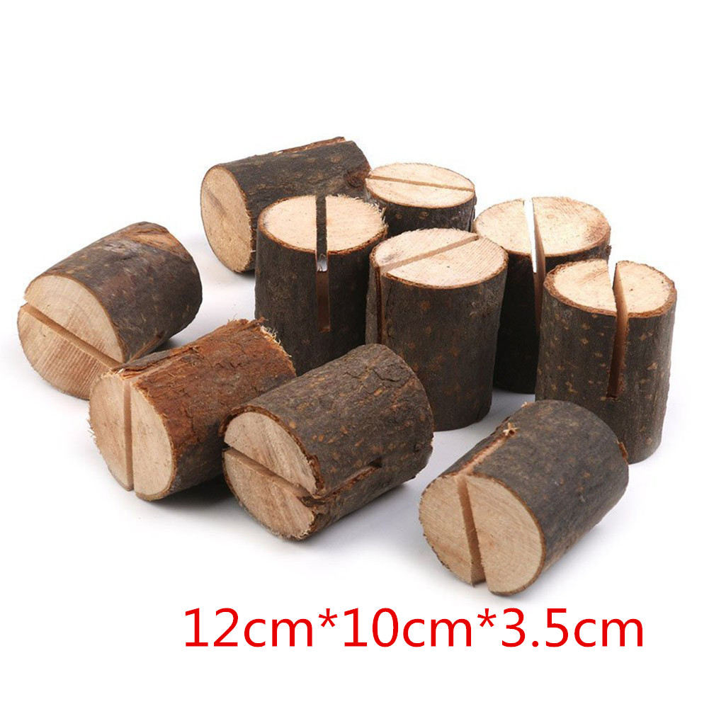 10Pcs Wooden Place Card Holders Name Wedding Table Menu Photo Table Decoration