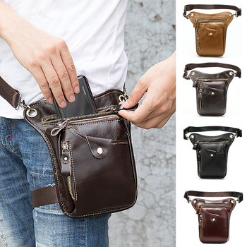 New men leg bags genuine leather waist packs Outdoor sports first layer leather waist bag Retro cycling bag