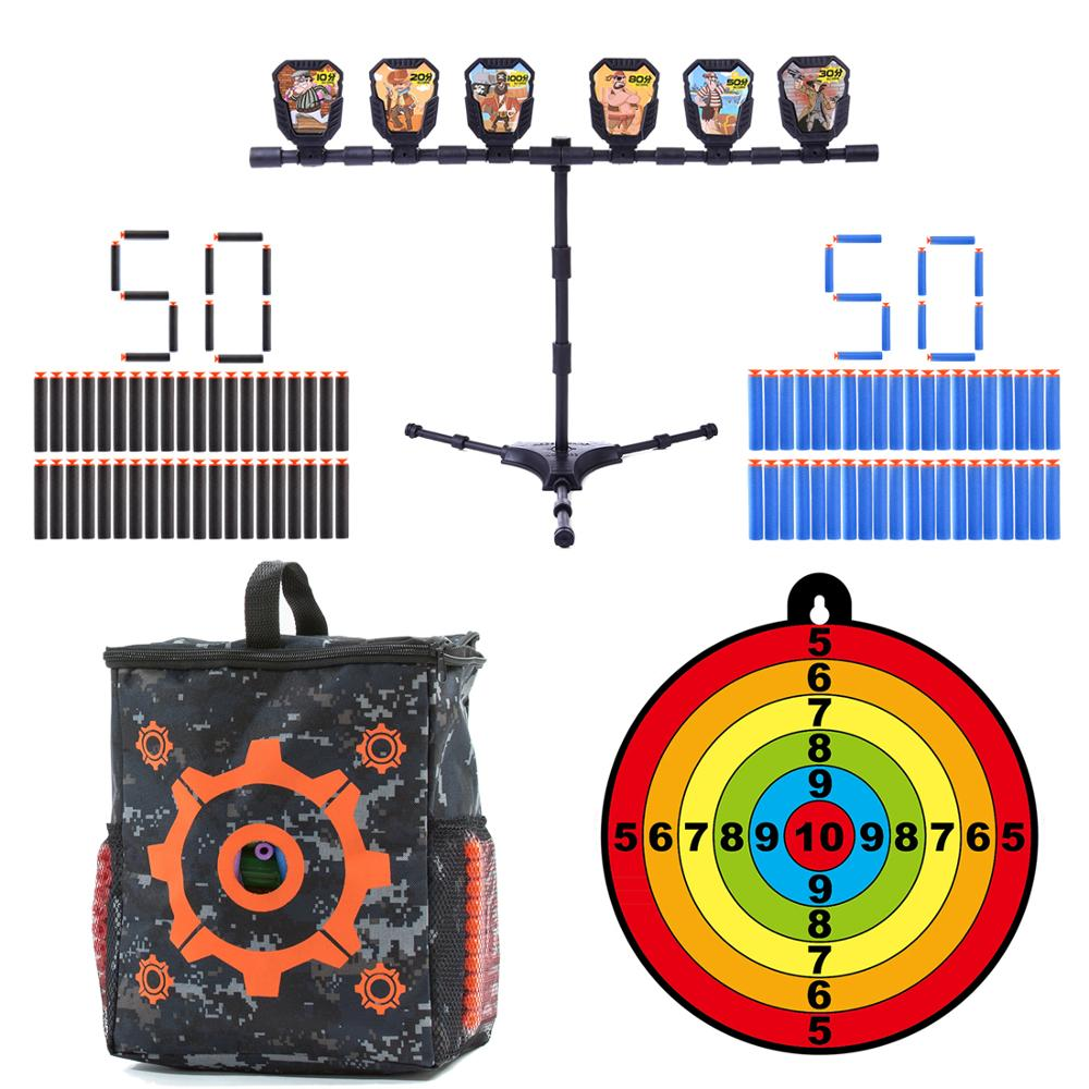 MODIKER 100 Sucked Head Soft Bullets + Large Target Bag + Aim Point Practice Targets For Nerf N-strike Elite Series