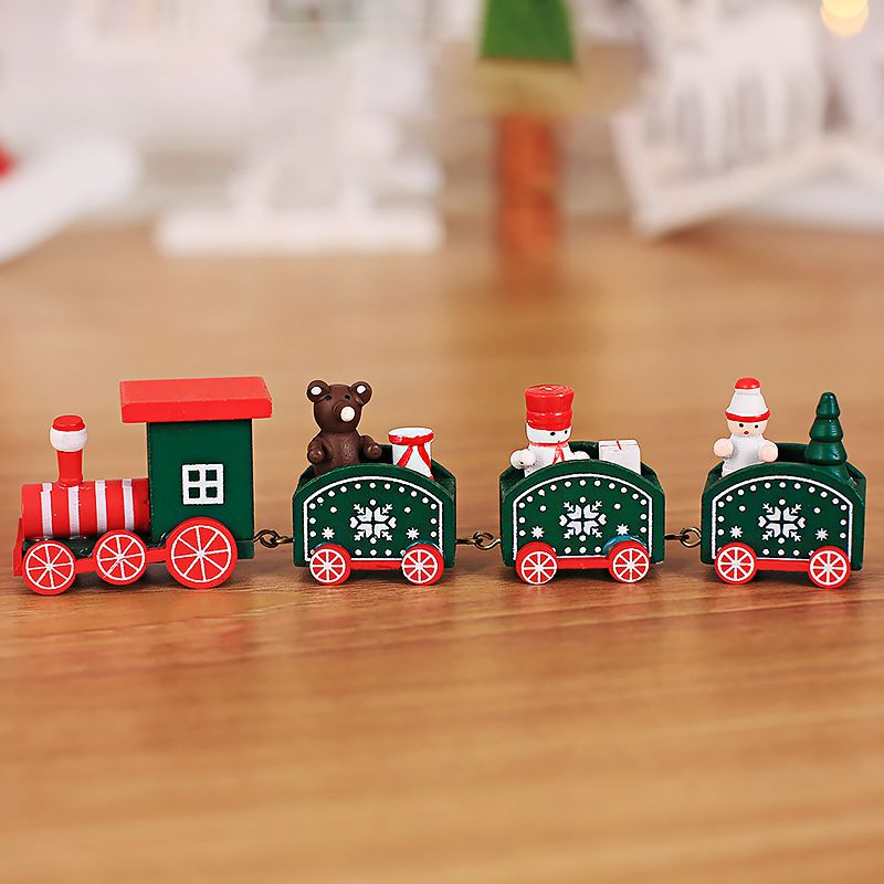 Hot Christmas Toys For Kids Baby Cute Wooden Mini Train Ornaments Kids Gift Toys For Christmas Party Kindergarten Decoration