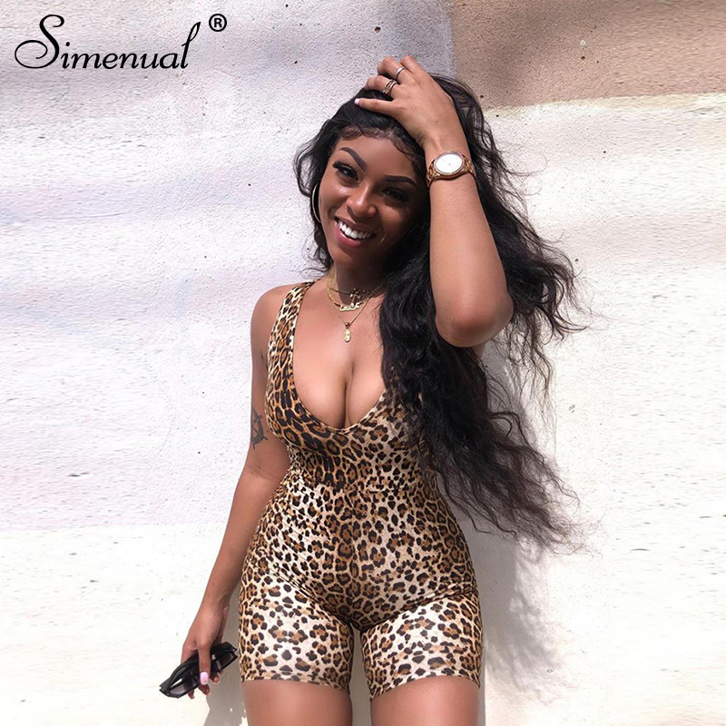 Simenual Leopard V Neck Fitness Biker Playsuits Sleeveless Sexy Fashion Rompers Womens Jumpsuits Skinny Summer Slim Playsuit Hot