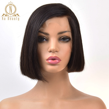 13x6 Lace Front Human Hair Short Bob Wigs Bleached Knots Pre Plucked Pixie Blunt Cut Straight Short Wig Women Remy Black Hair