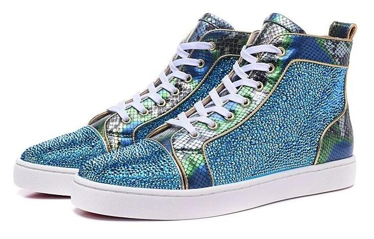 Men Shoes Sneaker Embellished Sky-Blue Snc Shoe-Lace-Up High-Top Fashion Crystal Moraima