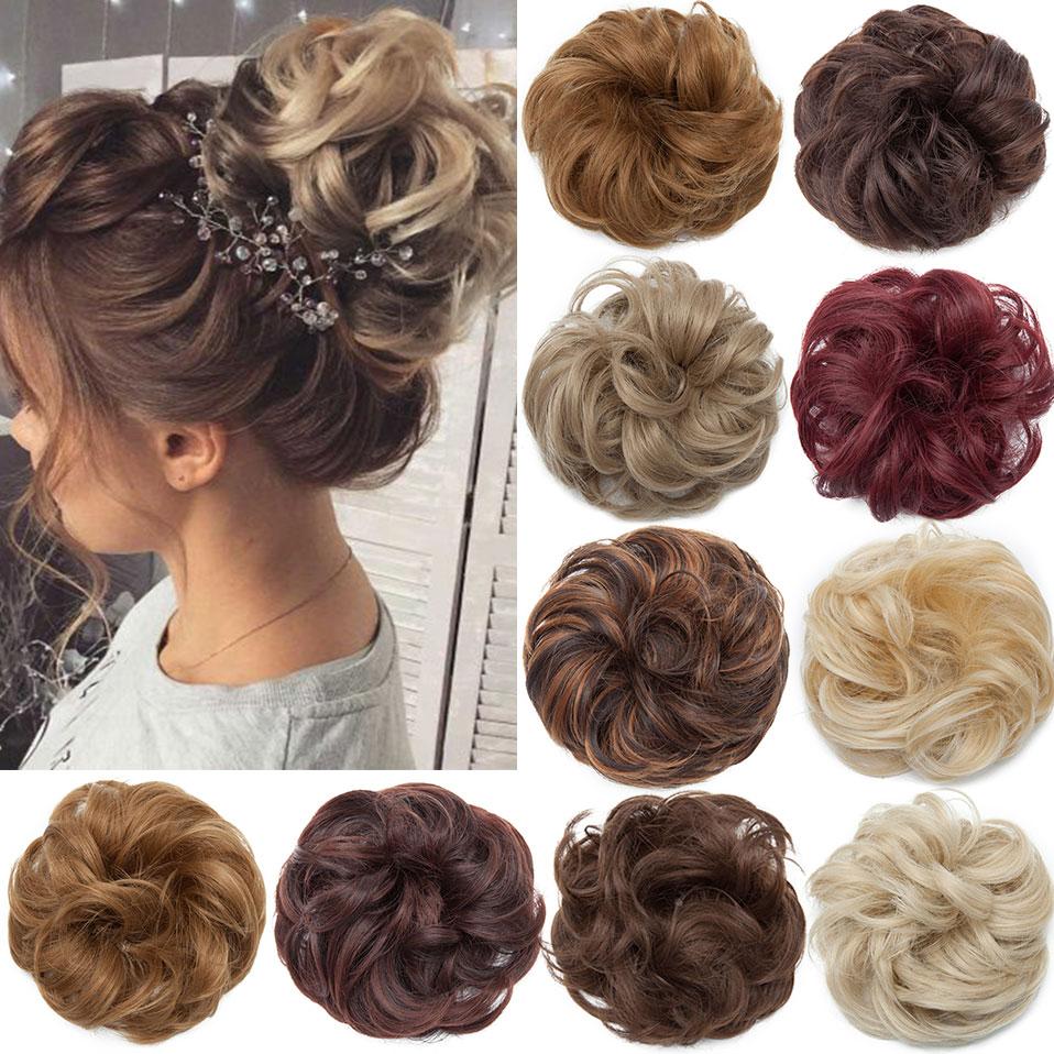 Messy Bun Hair-Bun Ponytails Chignon Scrunchy Synthetic-Wrap Curly Elastic Snoilite Women