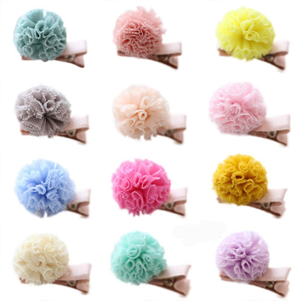 Korean Style Pompon Ball Baby Hair Clips Chiffon Colorful Hairpins For Girls Handmade Floral Fresh Style Hair Accessories New