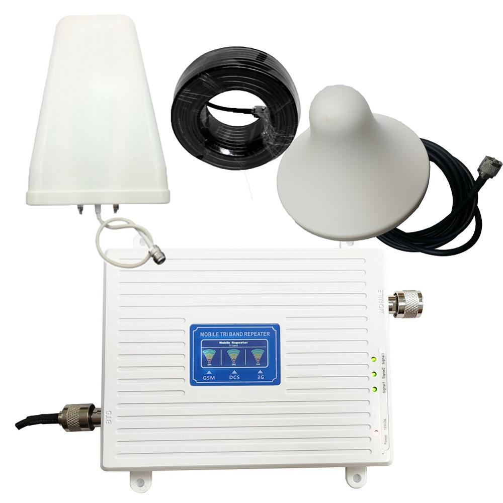GSM 2G 3G 4G teléfono celular de refuerzo Tri banda amplificador de señal móvil LTE repetidor de celular GSM DCS WCDMA 900, 1800, 2100 Antena ADS-B/TCAS/SSR 10 dbi 1090MHz, adaptador macho SMA, conector amplificador de señal 375mm
