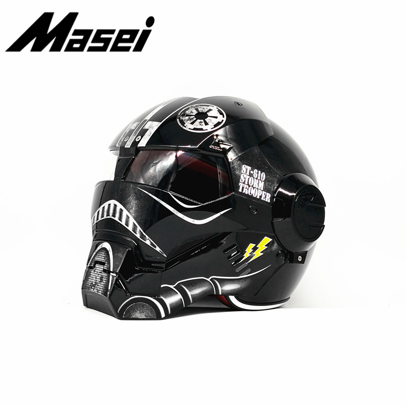 Frete grátis Top ABS moto motociclista Capacete MASEI Homem De Ferro personalidade especial moda meia abrir rosto moto capacete cruz Estrela wars11