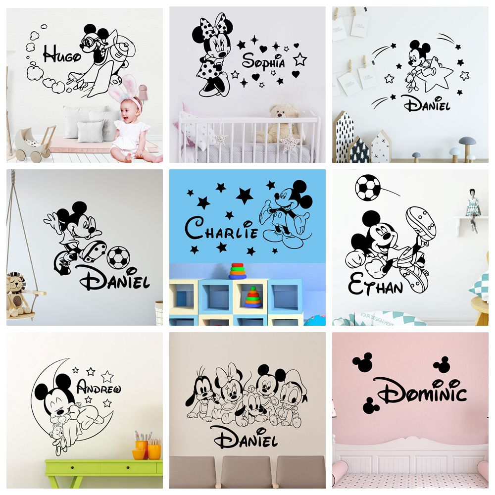 Personalized Custom Name Mickey Mouse Wall Sticker Minnie Decor For kids Room Girls Room Decoration Vinyl wall decor decals