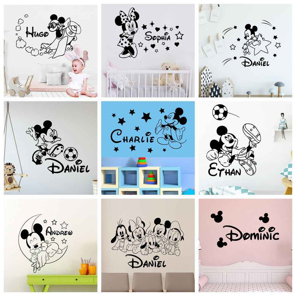 Personalized Name Mickey Maus Wand Aufkleber Minnie Decor Für kinder Zimmer Mädchen Zimmer Dekoration Vinyl wand dekor abziehbilder