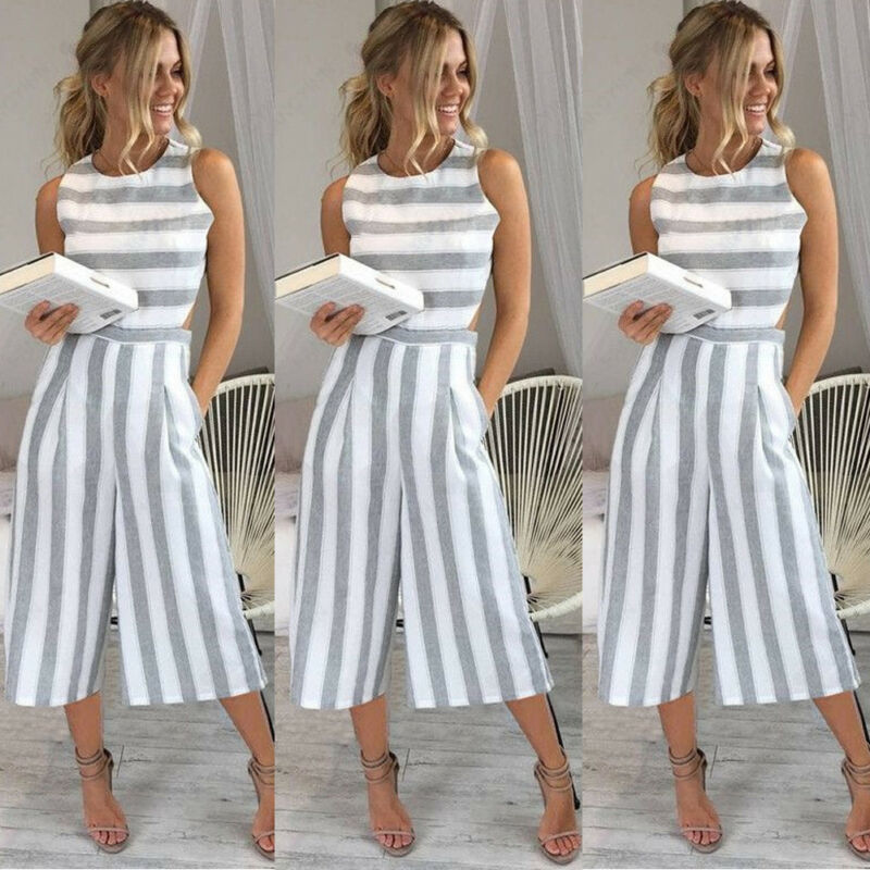 Women Sleeveless Striped Jumpsuit Casual Clubwear Wide Leg Pants Summer Playsuit Bodycon Party Jumpsuit   Romper   Trousers Shorts