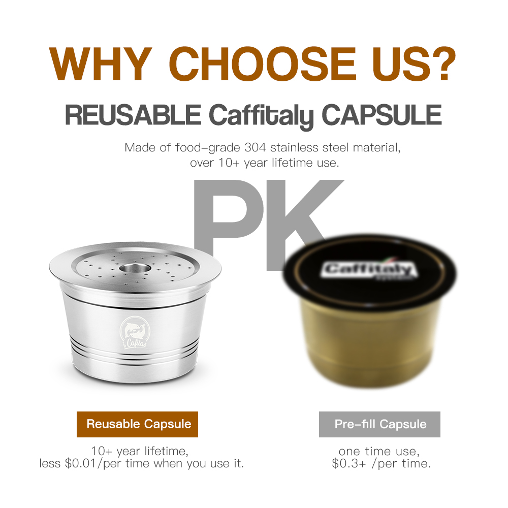 Coffee Capsule Cup Reusable Compatible With K-fee Refillable Crema Capsule For Caffitaly Tchibo Stainless Steel Metal Filter