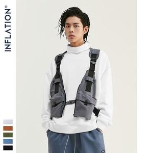 Image 4 - INFLATION Basic Men High collar Sweatshirt Pure color Mens Sweatshirt With Pouch Pocket Loose Fit Mens Autumn Sweatshirt 9620W
