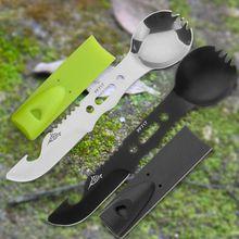 Многоцелевой нож для кемпинга и в комплекте с ложкой инструменты для кемпинга нож для выживания свисток