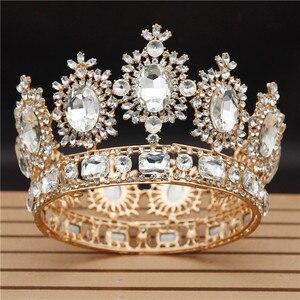 Image 1 - Винтажные свадебные тиары и короны с большими кристаллами для королевы, свадебный головной убор, конкурсное украшение для волос, аксессуары