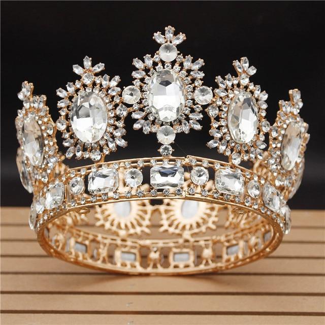 Vintage düğün taç büyük kristal Tiaras ve taçlar kraliçe gelin Headdress Pageant saç takı aksesuarları