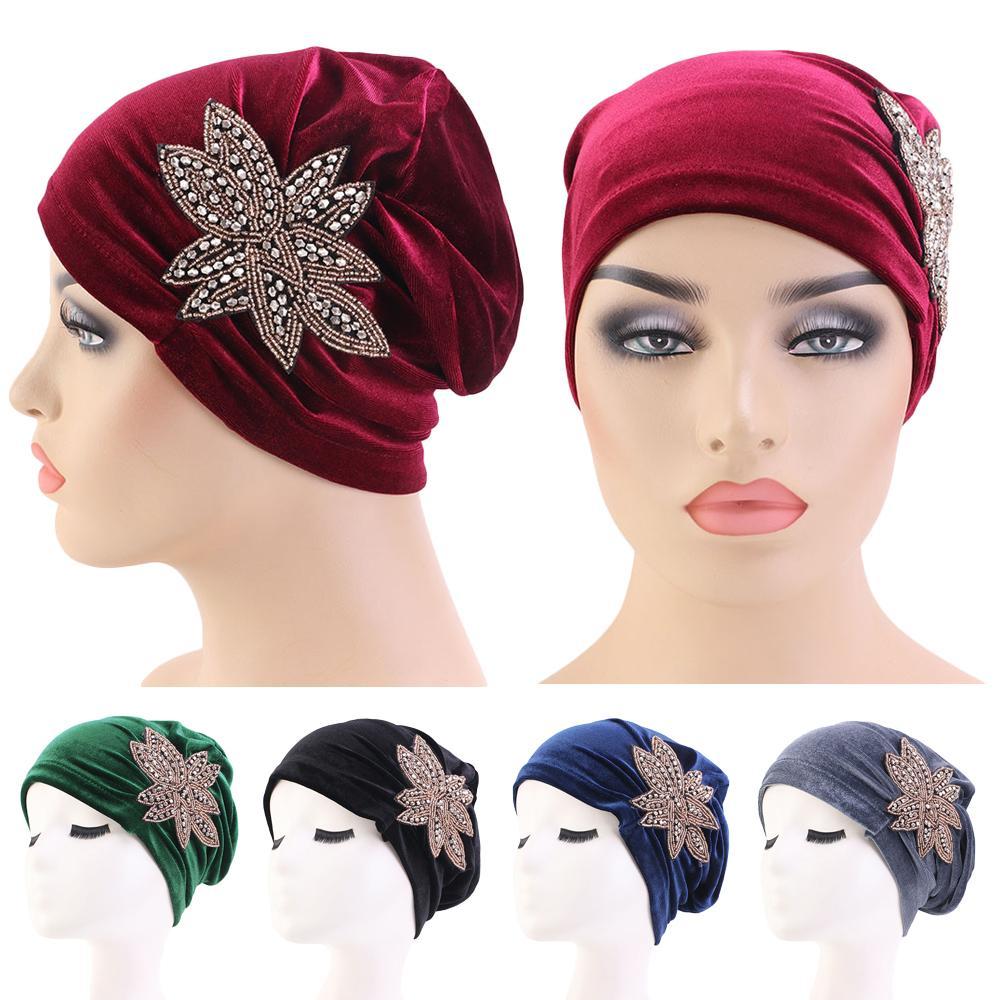 Women Velvet Stretch Turban Hat Chemo Cap Hair Loss Scarf Headwrap  TOP