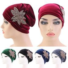 ผู้หญิงกำมะหยี่ Chemo หมวกอินเดียหมวก Turban มุสลิมหัวผ้าพันคอ Bonnet Beanie Headwear อุ่นผมครอบคลุม Skullied อิสลามแฟชั่น