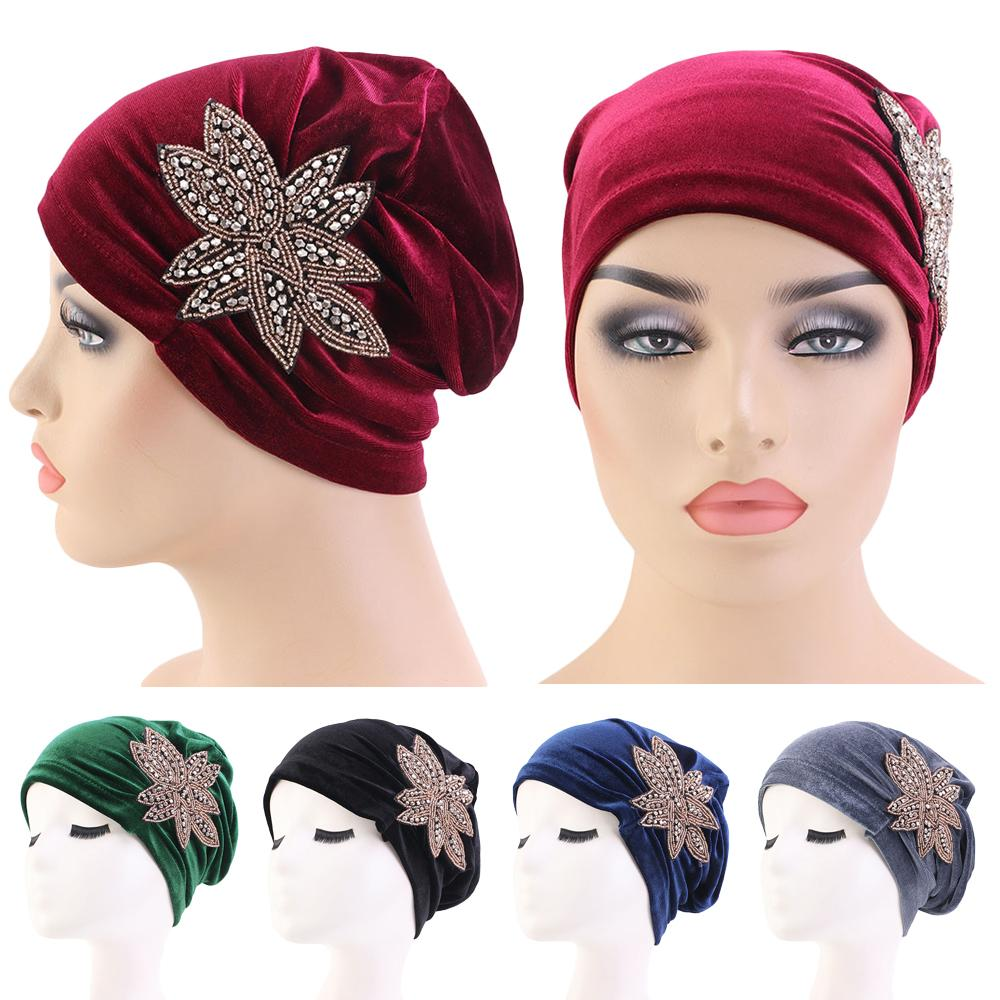 Women Velvet Chemo Cap India Hat Turban Muslim Head Scarf Bonnet Beanie Headwear Warm Hair Loss Covers Skullied Islamic Fashion
