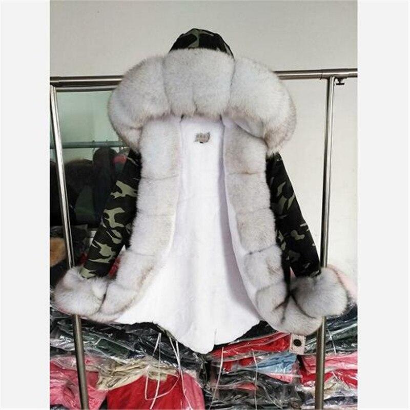 Maomaokong 2019 NEW Fashion Women Winter Long Jacket Warm Fox Fur Collar With Faux Fur Lining Real Fur Coat Streetwear