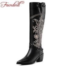 купить FACNDINLL 2020 new fashion women over the knee high boots hoof heels autumn winter warm shoes pointed toe black riding boots дешево