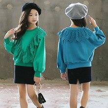 Зеленые и синие кружевные топы с оборками для маленьких девочек; свободные свитера с круглым вырезом и длинными рукавами; одежда для детей; коллекция года; осенние толстовки с капюшоном для детей