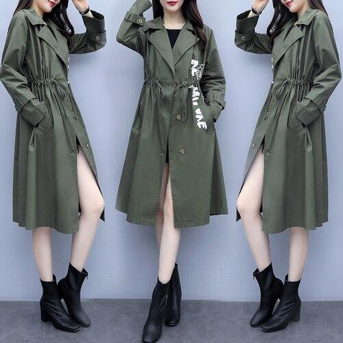 Plus Size 5xl   Trench   Coat For Women Single Breasted Overcoat Casual Women Windbreaker Korean Fashion Clothing Ladies Coats