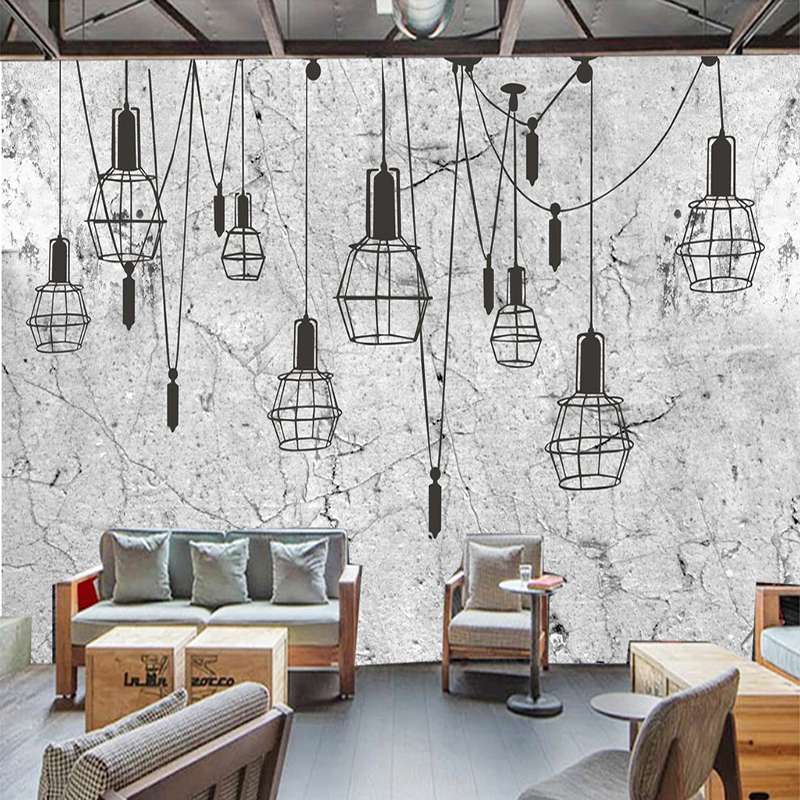 3d Wallpaper Retro Nostalgic Cement Wall Chandelier Coffee Shop Background Wall Mural Creative Art Decor Wall Covering 3d Fresco Leather Bag