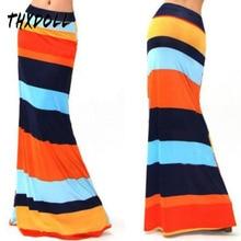 Stripe mermaid skirt popular summer and spring stretch fashion colorful stripe maxi skirts women