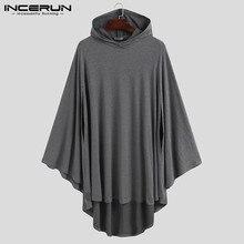 Men Hoodies Cloak Ponchos Irregular-Sweatshirts Casual Fashion Loose Solid INCERUN Cape